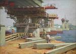 Строительство моста через Волгу.